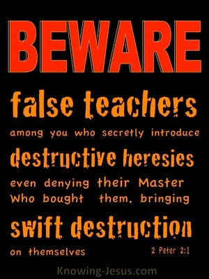2 Peter 2:1 Beware Of False Teachers Destructive and Heresies (black)
