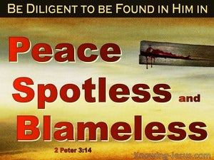 2 Peter 3:14 Be Dilligent In Peace Spotless And Blameless (red)