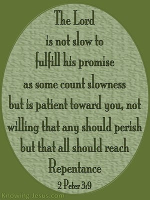 2 Peter 3:9 God Is Not Slow To Fulfil His Promise green