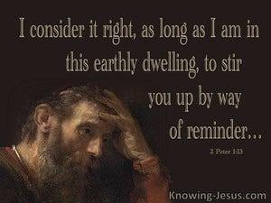 2 Peter 1:13 Stir Up By Way Of Reminder (brown)
