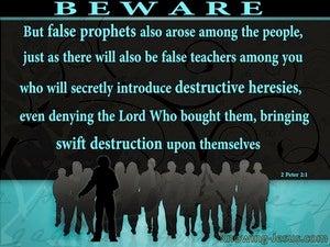 2 Peter 2:1 Beware Of False Teachers Destructive and Heresies (aqua)