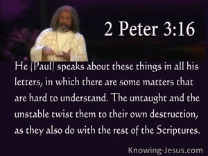 2 Peter 3:16  The Untaught And Unstable Twist Scripture To Their Destruction (purple)
