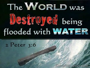 2 Peter 3:6 The World Was Destroyed With Water (black)