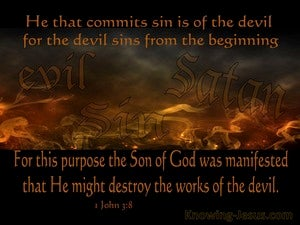 1 John 3:8 He Who Practices Sin Belongs To The Evil One (orange)