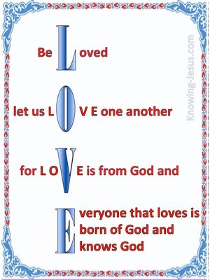 1 John 4:7 Beloved Let Us Love One Another white