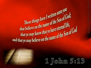 1 John 5:13 Believe On The Son (red)