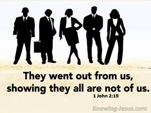 1 John 2:19 They Went Out From Us Showing They Are Not Of Us (beige)