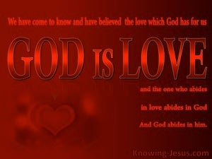 1 John 4:16 We Believe That God Is Love (red)