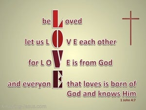 1 John 4:7 Beloved Let Us Love One Another (beige)