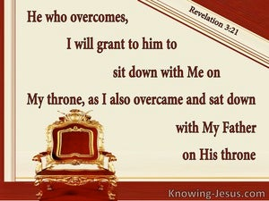Revelation 3:21 He Who Overcome Sits On My Throne (beige)