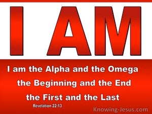Revelation 22:13 I Am Alpha And Omega Beginning And End First And Last (red)