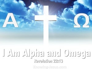 Revelation 22:13 Jesus Said I Am Alpha And Omega (blue)