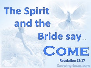 Revelation 22:17 The Spirit And The Bride Say Come (blue)