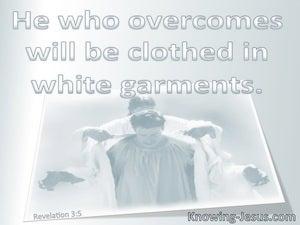 Revelation 3:5 He Who Overcome Will Wear White Garments:gray