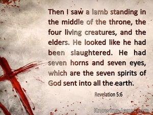 Revelation 5:6 Then I saw a Lamb (beige)
