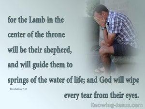 Revelation 7:17 God Will Wipe Away Every Tear (blue)