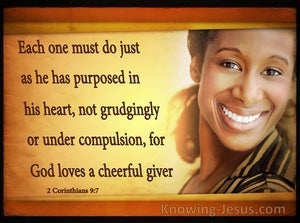 2 Corinthians 9:7 God Loves A Cheerful Giver (brown)