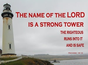 Proverbs 18:10 The Name Of The Lord Is A Strong Tower (red)