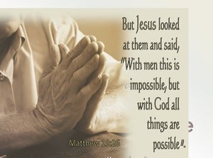 Matthew 19:26 All Things Are Possible With God (beige)