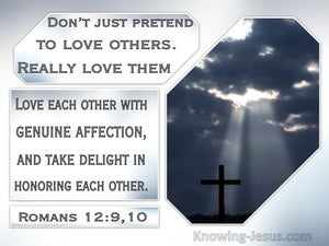 Romans 12:9:10 Dont Just Pretend To Love Others. Really Love Them (silver)