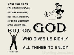 1 Timothy 6:17 God Supplies All Things (beige)