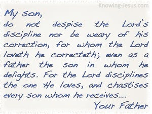 Hebrews 12:6 The Lord Disciplines The One He Loves (white)
