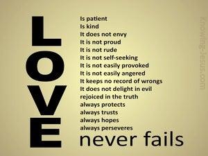 1 Corinthians 13:8 Love Never Fails (gold)