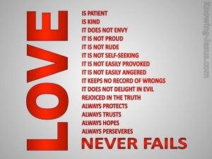 1 Corinthians 13:8 Love Never Fails (red)