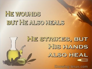 Job 5:18 He Woulds But Also Heals (brown)