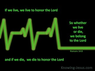 Romans 14:8 We Live And Die To The Lord (green)