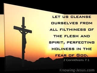 2 Corinthians 7:1 Let Us Cleanse Ourselves From All That Pollutes The Body And Spirit (black)