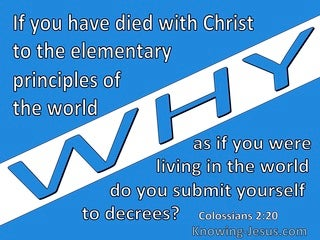 Colossians 2:20 You Died To The Elementary Principles Of The World (blue)