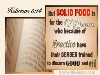 Hebrews 5:14 Food Is For The Mature To Discern Good And Evil (brown)