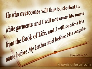 Revelation 3:5 He Who Overcomes Will Not Be Erased From The Book Of Life:beige