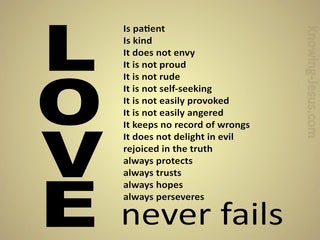 1 Corinthians 13:8 Love Never Fails (gold)