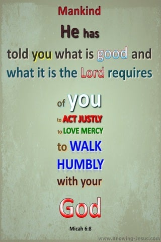 Micah 6:8 Act Justly Love Mercy And Walk Humbly (sage)
