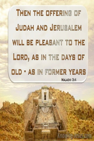 Malachi 3:4 The Offering Of Judah And Jerusalem Will Be Pleasant To The Lord (brown)