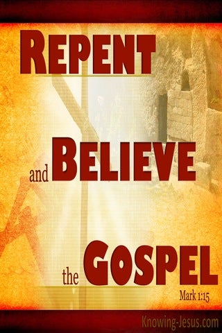 Mark 1:15 Repent And Believe In The Gospel (red)