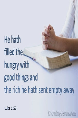 Luke 1:53 He Filled The Hungry With Good Things (blue)