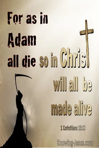 1 Corinthians 15:22 In Adam All Die In Christ All Made Alive (brown)