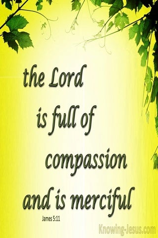 James 5:11 The Lord Is Full Of Compassion And Merciful (yellow)