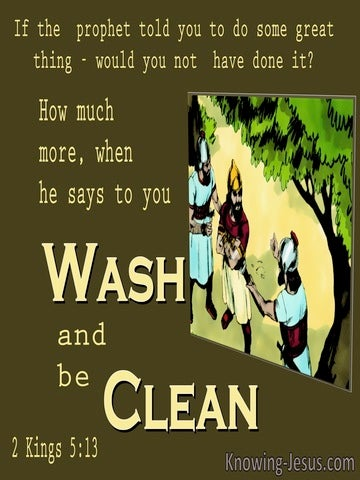 2 Kings 5:13 They Said To Naaman Wash And Be Clean (brown)