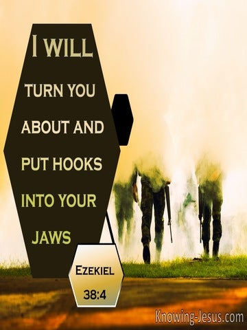 Ezekiel 38:4 I Will Turn You About And Put Hooks Into Your Jaws (black)
