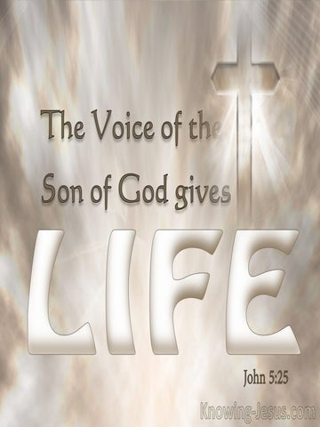 John 5:25 All Who Hear The Son Of God Will Hear And Live (beige)