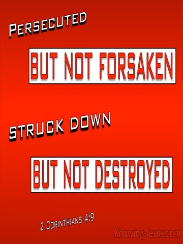 2 Corinthians 4:9 Persecuted But Not Destroyed (red)