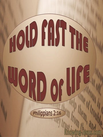 Philippians 2:16 Hold Fast The Word Of Life (red)