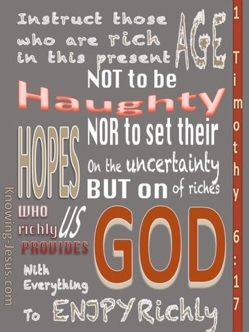 1 Timothy 6:17 Set Your Hope On God (white)