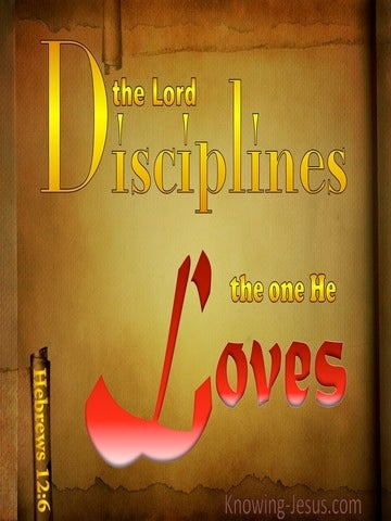 Hebrews 12:6 The Lord Disciplines The One He Loves (brown)