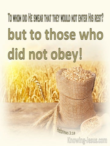 Hebrews 3:18 To Whom Did He Swear That They Would Not Enter His Rest (cream)
