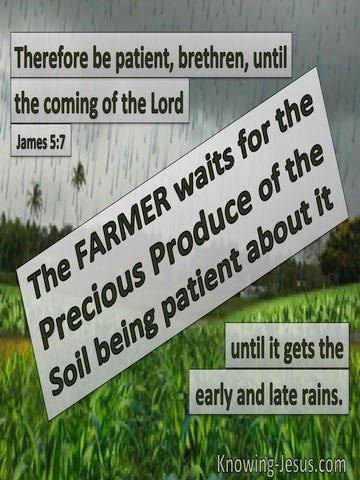 James 5:7 Be Patient Until The Coming Of The Lord (gray)